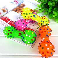 Colorful Dotted Dumbbell Shaped Squeeze Squeaky Faux Bone Pet Dog Toys P4PM