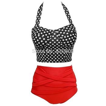 Новый 2014 красный холтер Большой размер купальники росту купальник старинные высокой талией бикини для женщин