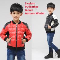 New Children's Clothing Winter Autumn PU Leather Jacket Abrigo Lana Nina Splice Handsome Celebrity Party Jacket Hot Sale