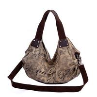 99 Time-Fashion Classic Brand Women Handbag Bolsas,Preppy Style Vintage Canvas Shoulder Bag,Letter Print Desigual Bags For Women