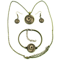 2015 New Fashion Eye Jewelry Set Bronze Necklace Earrings Bracelet Set Eye Picture Selectable Glass Dome Jewelry 047