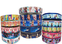 New 1'' 15 Yards Mixed Lots Party Elsa Frozen Ribbon Cartoon Princess Colorful Printed Gift Ribbons  Wrap Hair Bow Clips Crafts