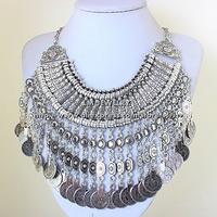 tattoo choker collar chunky vintage turkish coin bib 2014 fashion boho jewelry for women statement Necklaces & pendants LM-SC961