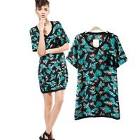 Casual Dress Print Lolita Clothed Female Long Short Dress V-Neck Blue Dress Causal Cute Dresses Cheap