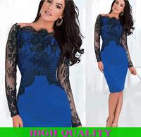 Women Dress 2014 Autumn Winter Desigual Bandage Dress Patchwork Knee-Length Women Bodycon Lace Casual Dress Vestidos Plus Size