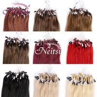 Neitsi Hair Micro Loop Ring Hair Straight Extensions 100% Brazilian Fashion women  Bead Hair AAA Grade Link Hairpices 14Colors