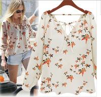 2014 Autum Women Blouses Bird Pattern Vintage Tops Puff Slleve Sweet Chiffon Shirts Plus Size blusas free shipping