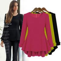 2014 winter dress Cotton Flax European and American  swomen dress  tar models long-sleeved dress elegance fat MM shirt XLxjh72