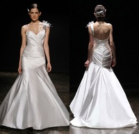 Fashion Mermaid One Shoulder with Crystals Feather Ruched Bodice Court Train Satin Weding Dress 2014