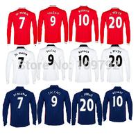 2015 long sleeve V. Persie 20 Di maria 7 soccer jersey 14 15 red blue white rooney 10 Falcao Rojo Januzaj mata Football shirt