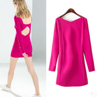 2014 winter new European and American minimalist elegance hollow V-neck long-sleeved dress women dress zipper cuffs  xjh73