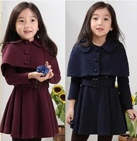Retail Kids Girls Slim Fit Casual Jackets Coat Han edition shawl skirt pendulum coat two-piece of the girls FF329