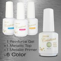 Choose 6 Colors +1 Top+1 Base +1 Reinforced gel Crislish New Led Uv Metallic Gel Set Nail Gel Soak Offf UV Gel Polish 15ml