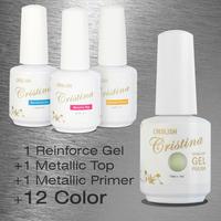 Choose 12 Colors +1 Top+1 Base +1 Reinforced gel Crislish New Led Uv Metallic Gel Set Nail Gel Soak Offf UV Gel Polish 15ml