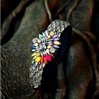 New Brand Design Fashion Women Good Quality Shourouk white Crytsal Flower Colorful Hairband Vintage Women Hairjewelry 8773