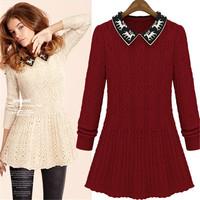 2014 new knitted long sleeve hemp flower Christmas deer printed collar women vintage slim Winter warm pullover sweater dress