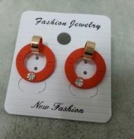 2014 cheap brand logo stud earrings high quality  fashion 18K gold plated logo earring women jewelry