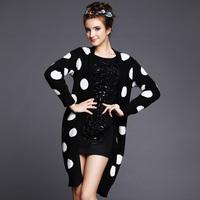 S-5XL Brand 2014 Fall Wintr Women Black White Polka Dot Knitted Long Sweater Coat Ladies Woolen Cardigan Plus Size 3XL 4XL