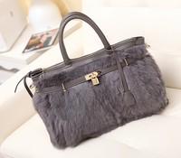 Fashion rabbit fur 2014 women's handbag vintage women's handbag winter fur bag platinum package big bag female