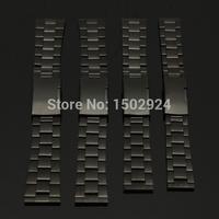 블랙 스테인레스 스틸 시계 밴드 스트랩 스트레이트 엔드 팔찌 18 미리메터 20 미리메터 22 미리메터 24 미리메터 버클 무료 배송