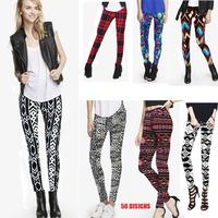 Women Floral Printing Capris Fashion Ladies Long Geometric Design Pants Flower Leggings Stretchable Skinny Pencil Pants XL