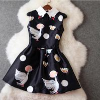 New 2014 Summer Dresses Slim Sleeveless Mini Vintage Dress Europe and the United Swan throng printing Slim dress