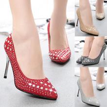 2014 nueva moda tacones altos para mujer dedo del pie puntiagudo pedrería para mujer stilettos sexy bombas señoras zapatos al por mayor(China (Mainland))
