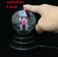 Free Shipping USB/battery Magic Plasma Ball 3 inch Glass Sphere Lighting Light Lamp Party Light