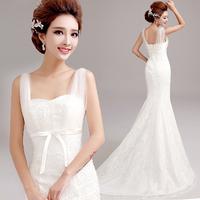 2014 Princess bride slit neckline lace  wedding dress winter A571#