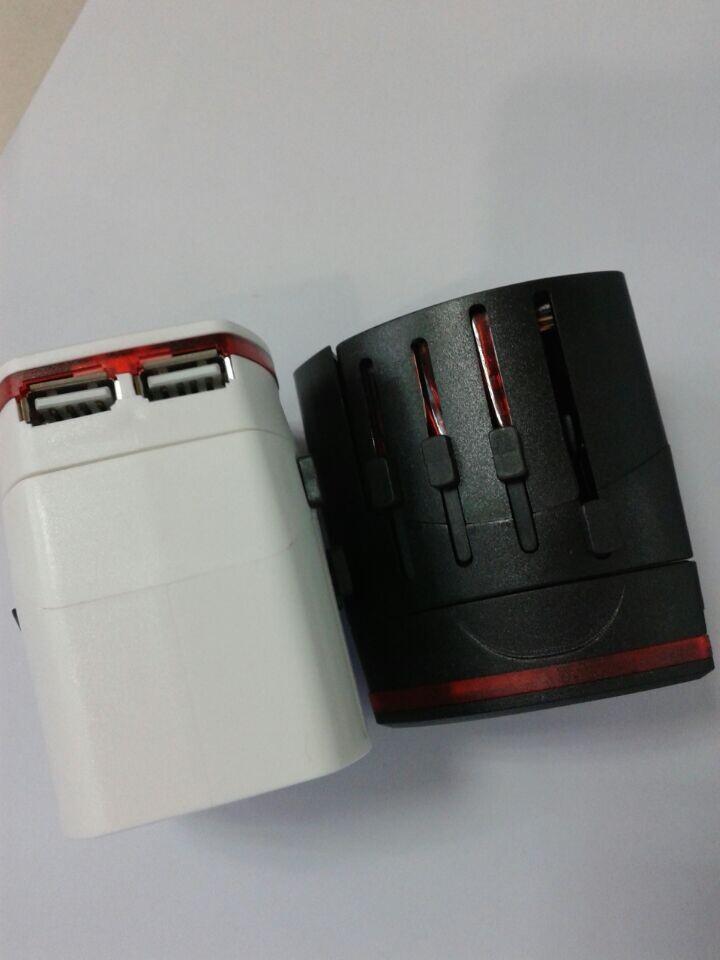 All in One Universal International Plug Adapter 2 USB Port World Travel AC Power Charger Adaptor with AU US UK EU Plug(China (Mainland))