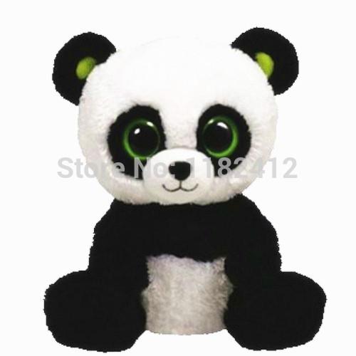 Ty Plush Animals Beanie Boos Buddy Bamboo Panda Plush Toys 6'' 15cm TY Big Eyes Stuffed Animals Kids Toys for Children Gift(China (Mainland))