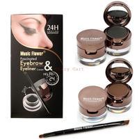 4 in 1 Brown + Black Gel Eyeliner Brown + Black Eyebrow Powder Make Up Water-proof and Smudge-proof Cosmetics Set Eye Liner Kit