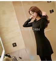 Free Shipping Office Women Dress, Winter/Autumn Wool Black Dress, Beading Peter Pan Collar Cute Dress
