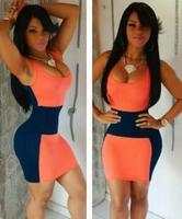 New Fashion 2015 Women Sexy Patchwork Sleeveless Slim Bodycon Elastic Mini Dress Party Bandage Elegant Evening Dresses NTDR-1056