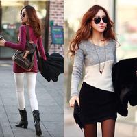 Superb! 2014  Fashion Women Slim Bottoming Hit color Autumn Waist Sweater Mini Dress Alipower