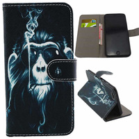 """Smoking Monkey Design PU Leather Case for iPhone 6 Plus 5.5"""" with Card Holder"""