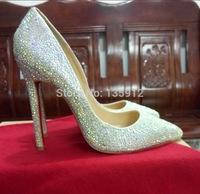 Red Bottom High Heels Silver Diamond Wedding Shoes Crystal Pumps Slip On Rhinestone Women Shoes
