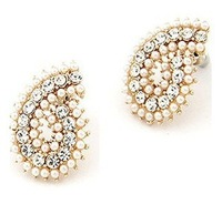 Free Shipping Italina 2014 Hot Sale water drop Brincos Statement Top Quality Simulated double pearl earrings Jewelry C30R12