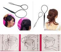New Fashion 2pcs/set Magic Hair Styling Tools Topsy Tail Braid Hair Maker Black Ponytail Styling Tools Hair Accessories