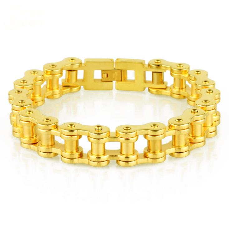 22.5cm*12.5mm 67g New Arrive Fashion Style 316L Stainless Steel Gold Plated Handmade Bike Chain Bracelets Bangles For Men Boy(China (Mainland))