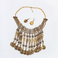 Golden/Silver Gypsy Ethnic Vintage Punk Rhinestone Flower Coins Pendant Tassel Statement Necklace/Earrings Jewelry Sets Hot PT34