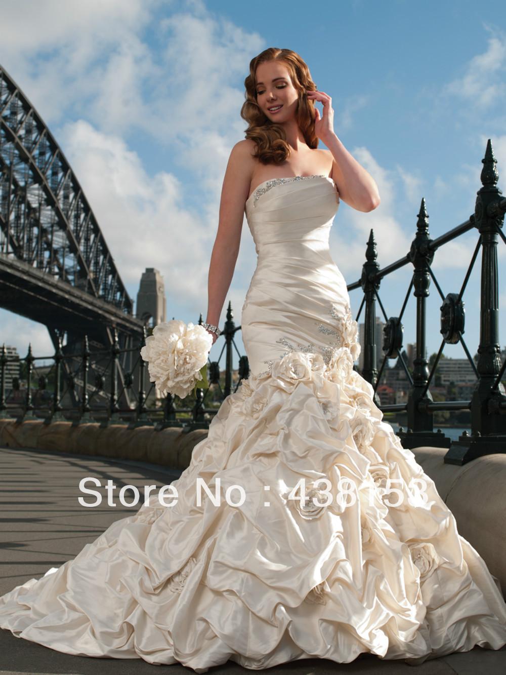 2015Fancy Strapless Sexy Ruffles Crystals Flowers Taffeta Free Shipping New Design 2015 Bridal Dress Mermaid(China (Mainland))