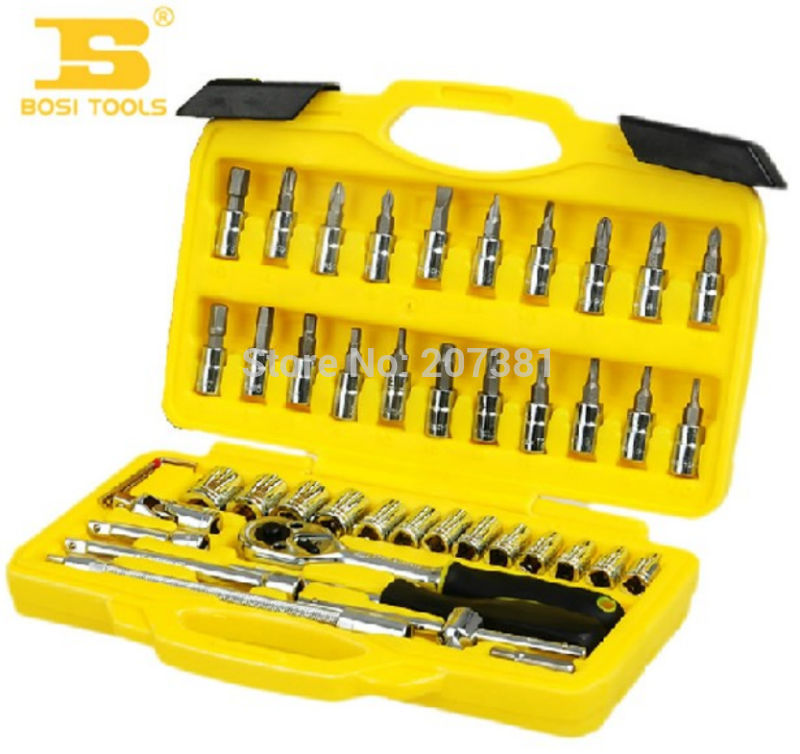 "free shipping 46pcs Per Set 1/4"" DR.Socket Wrench Set Steel Drop-forged Manual Tools(China (Mainland))"