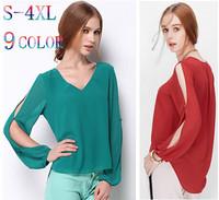 2015 women hollow out long sleeve asymmetric chiffon shirts,plus size 3XL 4XL 5XL Ladies sexy blouse shirts cheap clothes china