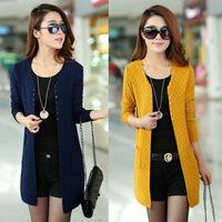 2014 new women's fall and winter the long sweater cardigan sweater big yards thin coat