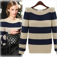 2014 European new fall women sweater cultivating wild striped sweater 9533
