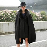 Fashion winter luxury queen of fur collar black fashion cloak thickening wool coat wool outerwear