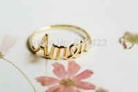 Free shipping 10pcs/lot Simple Amen letters shape ring, letter rings, simple Amen letter shape finger ring JZ-127