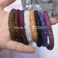 Hot Sale Multicolor Stardust Mesh Bracelet with Tiny Resin Cystal Filled Magnetic Wrap Bracelet 6pcs/lot SW-B001