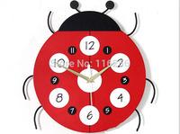 Creative Wall Clock Children's room Cartoon clock Fashion Ladybug Muted clocks Wholesale / Retail cy026